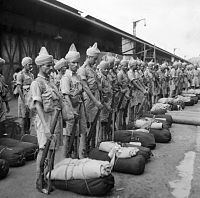 Newly arrived Indian troops on the quayside in Singapore, November 1941