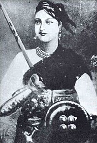 Lakshmibai, the Rani of Jhansi, one of the principal leaders of the Indian Rebellion of 1857, who earlier had lost her kingdom as a result of Lord Dalhousie's Doctrine of Lapse
