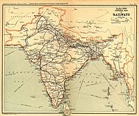 The railway network of India in 1909, when it was the fourth largest railway network in the world