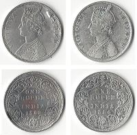 Two silver one rupee coins used in India during the British Raj, showing Victoria, Queen, 1862 (left) and Victoria, Empress, 1886 (right)