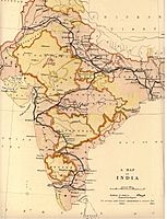 The railway network of India in 1871, all major cities, Calcutta, Bombay and Madras, as well as Delhi are connected