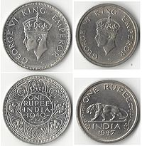 One rupee coins showing George VI, King-Emperor, 1940 (left) and just before India's independence in 1947 (right){{efn|The only other emperor during this period, Edward VIII (reigned January to December 1936), did not issue any Indian currency under his name.}}