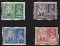 """The series of stamps, """"Victory"""", issued by the Government of India to commemorate the allied victory in World War II"""