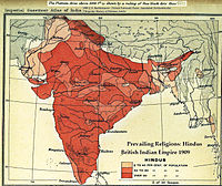 Percentage of Hindus by district, 1909