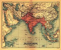 The British Indian Empire and surrounding countries in 1909