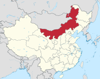 Inner Mongolia according to current boundaries. Outer Mongolia is to the north and west. Dzungaria is directly west of Outer Mongolia.