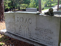 Dirac's grave in Roselawn Cemetery, Tallahassee, Florida. Also buried is his wife Manci (Margit Wigner). Their daughter Mary Elizabeth Dirac, who died 20 January 2007, is buried next to them but not shown in the photograph.