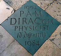 The commemorative marker in Westminster Abbey.