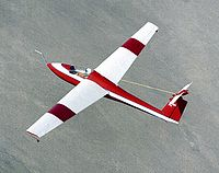 A Schweizer SGS 1-36 being used for deep stall research by NASA over the Mojave Desert in 1983.