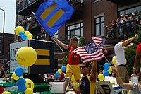 The Human Rights Campaign often has a large presence at LGBT-related events such as the Chicago Pride Parade as seen above.