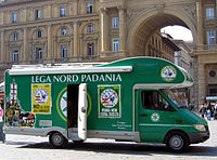 Campervan of Lega Nord for the 2005 Tuscan regional election in Florence