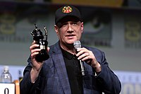 Feige receiving the Inkpot Award at the 2017 San Diego Comic-Con.