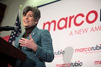 Ernst speaking at a campaign event for Marco Rubio in January 2016