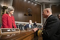 Ernst speaking to Navy Vice Admiral Michael M. Gilday during an Armed Services Committee hearing in 2019