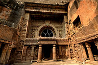 The Ajanta Caves are 30 rock-cut Buddhist cave monument built