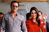 """Kapoor and Saif Ali Khan at their registry marriage ceremony in 2012. In a blog published by The Wall Street Journal, Rupa Subramanya described the marriage as India's """"wedding and social event of the year""""."""