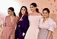 Kapoor with co-stars Swara Bhaskar, Sonam K Ahuja and Shikha Talsania (l-r) at a promotional event for Veere Di Wedding in 2018