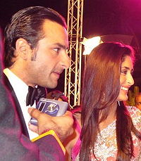 Kapoor with husband Saif Ali Khan at the 53rd Filmfare Awards in 2008. Following her breakup with Shahid Kapoor, there was speculation in the media that she was dating Khan who later confirmed their relationship at the 2007 Lakme Fashion Week.