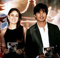 """Pictured with co-actor Shahid Kapoor at the audio release of 36 China Town in 2006. During the filming of Fida, the actress began a romantic relationship with Kapoor, whom she later described as having """"a major positive influence in my life."""""""