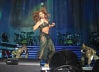 """Beyoncé performing """"Baby Boy"""", which spent nine consecutive weeks at number one on the Billboard Hot 100 chart"""