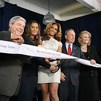 Beyoncé (center) and her mother, Tina, (left) at the opening of the Beyoncé Cosmetology Center on March 5, 2010