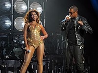 Beyoncé performing on the I Am... World Tour with Jay-Z, whom she married in 2008