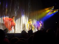 Beyoncé (center) at the final line-up of Destiny's Child, performing during their 2005 Destiny Fulfilled... and Lovin' It concert tour