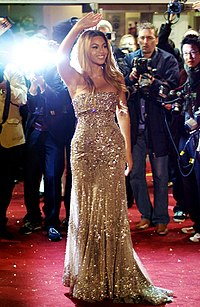 Beyoncé at the premiere for her 2006 film, Dreamgirls