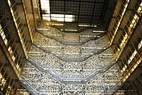 A view of the atrium of Bobst Library