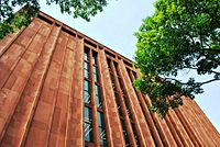 A view of the exterior of Bobst Library