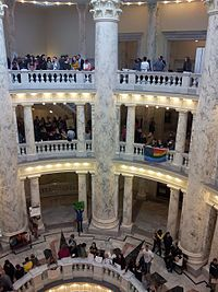 An LGBT protest at the Idaho statehouse in 2014