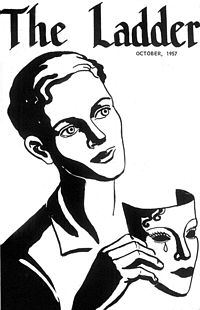 Cover of U.S. lesbian publication The Ladder from October 1957. The motif of masks and unmasking was prevalent in the homophile era, prefiguring the political strategy of coming out and giving the Mattachine Society its name.