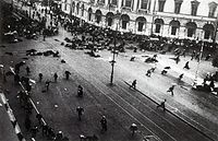 A scene from the July Days. The army has just opened fire on street protesters.