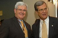 Sen. Trent Lott with former Speaker of the House Newt Gingrich (R-GA) at the 2004 Republican National Convention; both Lott and Gingrich provided consistent support to President George W. Bush