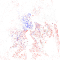 Map of racial distribution in Jacksonville, 2010 U.S. Census. Each dot is 25 people: White, Black, Asian Hispanic , or other (yellow)