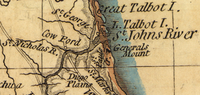 Northeast Florida showing Cow Ford (center) from Bernard Romans' 1776 map of Florida