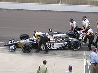 Franchitti's car being pushed up to qualify for the 2006 Indianapolis 500