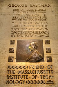 """Plaque in Building 6 honoring George Eastman, founder of Eastman Kodak, who was revealed as the anonymous """"Mr. Smith"""" who helped maintain MIT's independence"""