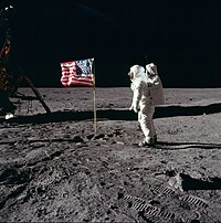 Aldrin salutes the deployed United States flag on the lunar surface