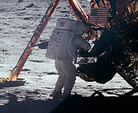 A photograph of Neil Armstrong taken by Buzz Aldrin. This is one of the few photographs of Armstrong on the lunar surface; most of the time he held the camera.