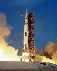 The Apollo 11 Saturn V space vehicle lifts off with Astronauts Neil A. Armstrong, Michael Collins and Edwin E. Aldrin Jr. at 9:32 a.m. EDT July 16, 1969, from Kennedy Space Center's Launch Complex 39A.