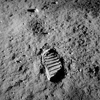 Aldrin's bootprint; part of an experiment to test the properties of the lunar regolith