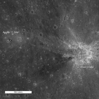 Landing site relative to West crater