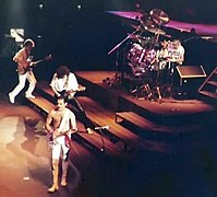 Mercury playing rhythm guitar during a Queen concert in Frankfurt, West Germany, 1984