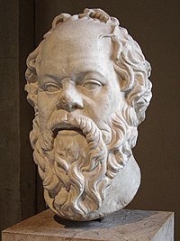 In Plato's Apology, Socrates (pictured) was accused by Meletus of not believing in the gods.