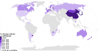 Nonreligious population by country, 2010.