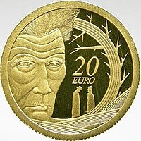 Samuel Beckett depicted on an Irish commemorative coin celebrating the 100th anniversary of his birth