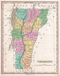Vermont in 1827. The county boundaries have since changed.