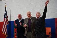 Senators Bernie Sanders and Patrick Leahy and Representative Peter Welch greet supporters in 2017.