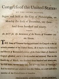 1791 Act of Congress admitting Vermont into the Union